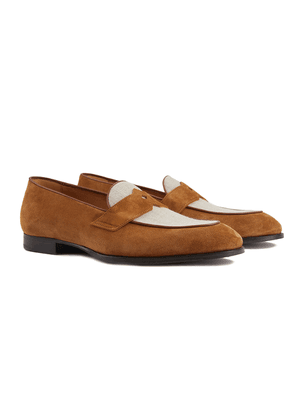 Tobacco and White Schifano Suede and Linen Penny Loafers
