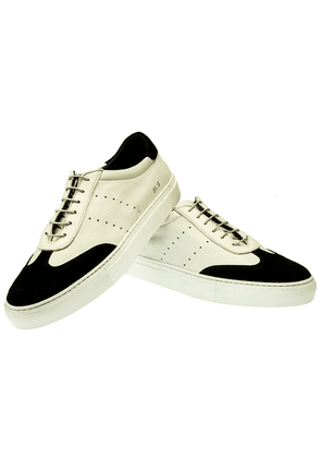 White Leather and Black Suede Gaddo Sneakers