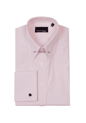 Pink Micro-Stripe Cotton Pin-Collar Shirt With Double Cuffs