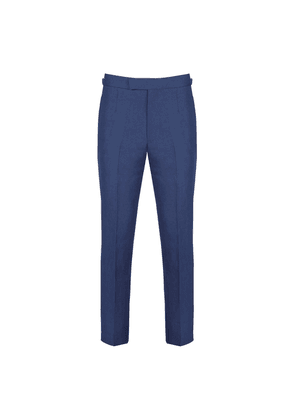 Navy Linen Trousers With Side Adjustors