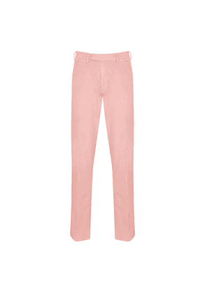 Pink Cotton Corduroy Flat-Fronted Trousers