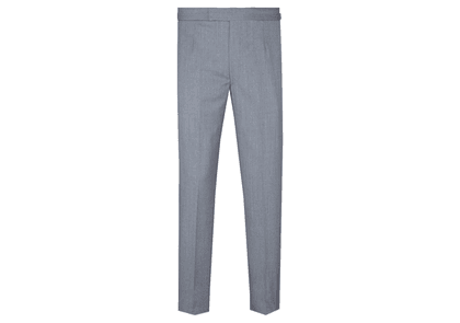 Light Grey Flat Front Wool Trousers