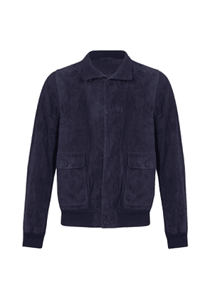 Navy Suede Fly-Front Jacket