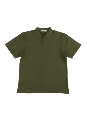 Green Cotton Polo Shirt with Floral Embroidery