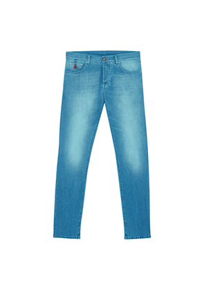 Turquoise-Wash Classic Slim-Fit Jeans