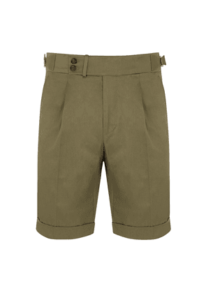 Olive Green Cotton Shorts