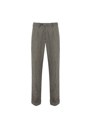 Grey Prince-of-Wales Check Wool-Flannel Trousers