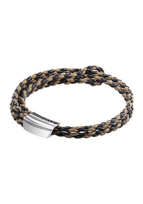 Black and Brown Leather Rhodium-Plated Bracelet