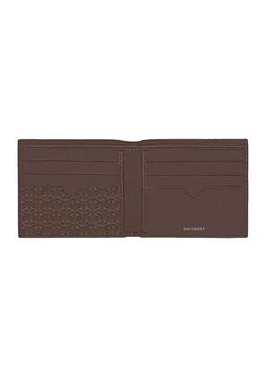 Brown Embossed Leather Zino Six-Card Wallet