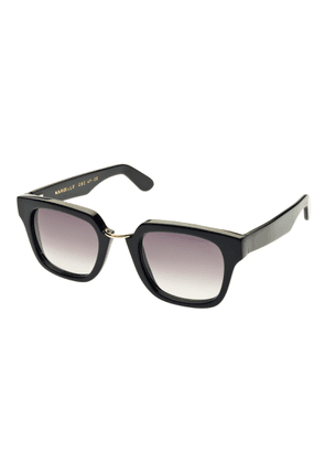 Black Acetate Sunglasses with Gilded Bridge
