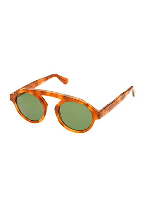 Brown Tortoiseshell Acetate Sunglasses with Green Lenses