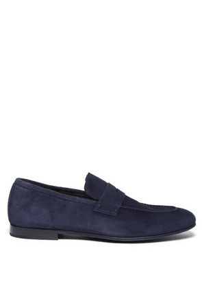 Dunhill - Engine Suede Penny Loafers - Mens - Navy