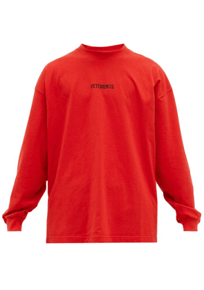 Vetements - Logo Print Jersey Top - Mens - Red