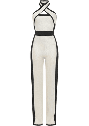 Balmain Sequined Two-tone Waffle-knit Jumpsuit Woman Ivory Size 36