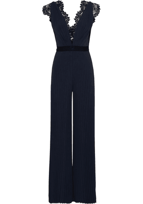 Catherine Deane Hessa Lace-trimmed Pleated Stretch-jersey Jumpsuit Woman Navy Size 12