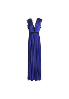 Catherine Deane Griffin Satin Plissé Gown Woman Royal blue Size 8