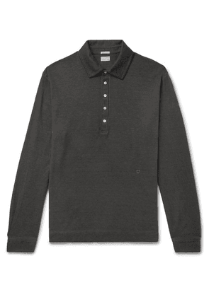 Massimo Alba - Watercolour-dyed Cotton And Cashmere-blend Polo Shirt - Charcoal