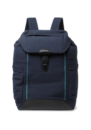 Paul Smith - Leather-trimmed Canvas Backpack - Navy