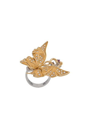 Carrera 18kt yellow gold, diamond and pink sapphire butterfly cocktail