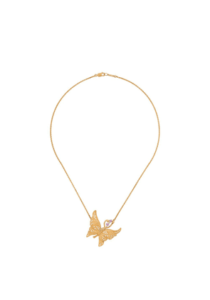 Carrera 18kt yellow gold, diamond and pink sapphire butterfly necklace