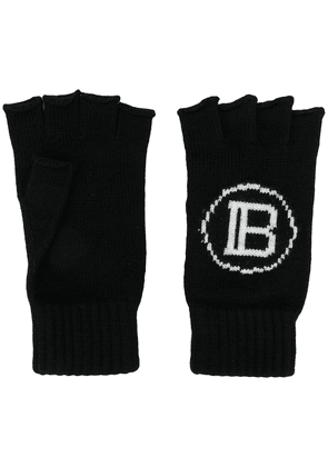 Balmain intarsia knit logo fingerless gloves - Black