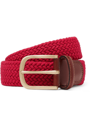 Anderson & Sheppard - 3.5cm Red Leather-trimmed Woven Stretch-cotton Belt - Red