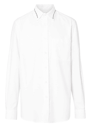 Burberry Classic Fit Embroidered Cotton Poplin Dress Shirt - White