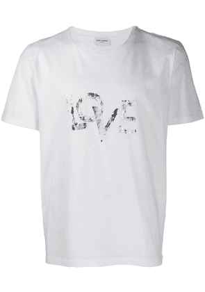 Saint Laurent Love printed tee - White