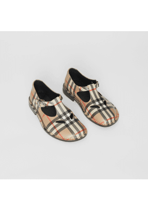 Burberry Childrens Vintage Check Leather Mary Jane Shoes, Size: 27, Beige