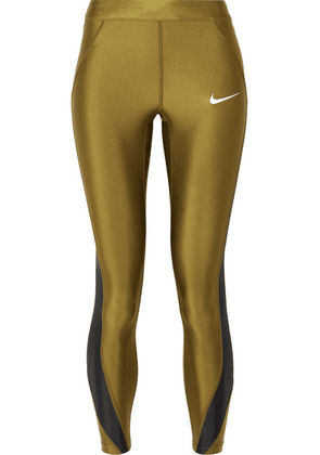 Nike - Speed Cropped Paneled Metallic Dri-fit Stretch Leggings - Army green