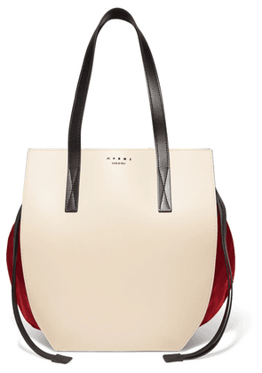 Marni - Color-block Leather And Satin Shoulder Bag - Cream