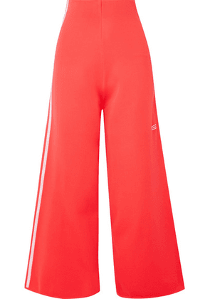adidas Originals - Striped Stretch-knit Wide-leg Track Pants - Tomato red