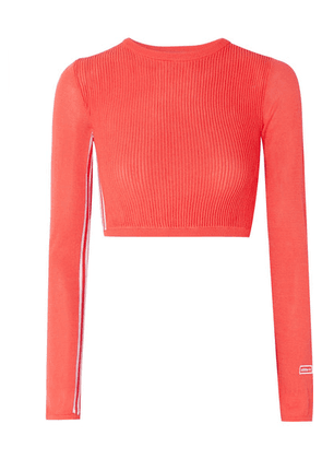 adidas Originals - Cropped Striped Ribbed Stretch-knit Top - Tomato red