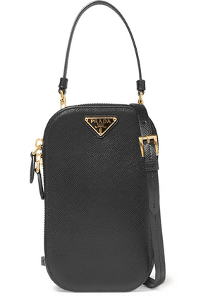 Prada - Embellished Textured-leather Pouch - Black