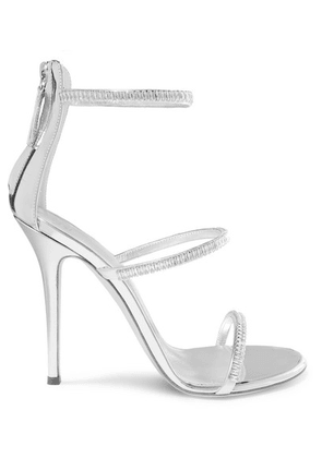 Giuseppe Zanotti - Harmony Crystal-embellished Mirrored-leather Sandals - Silver