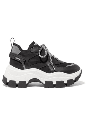 Prada - Nylon And Leather Sneakers - Black