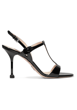 Prada - 90 Patent-leather Slingback Sandals - Black