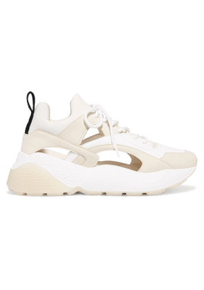 Stella McCartney - Eclypse Cutout Faux Leather, Suede And Neoprene Sneakers - Off-white