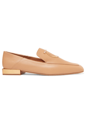 Salvatore Ferragamo - Lana Embellished Leather Collapsible-heel Loafers - Camel
