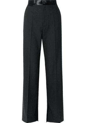 Helmut Lang - Satin-trimmed Wool And Mohair-blend Wide-leg Pants - Black