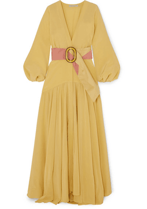 Silvia Tcherassi - Felicity Belted Silk Crepe De Chine Maxi Dress - Yellow