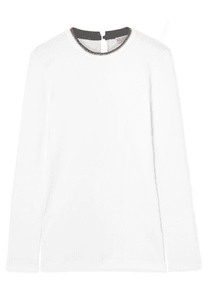Brunello Cucinelli - Bead-embellished Ribbed Stretch Cotton-jersey Top - White