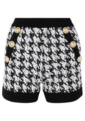 Balmain - Button-embellished Houndstooth Bouclé-tweed Shorts - Black