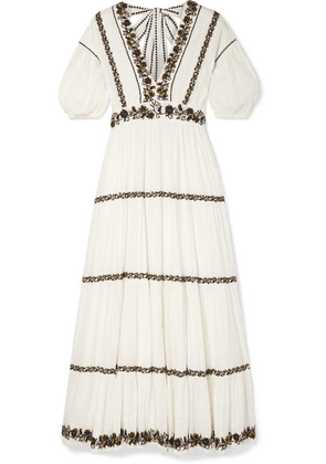 Ulla Johnson - Alma Sequined Embroidered Crinkled Cotton-voile Maxi Dress - White