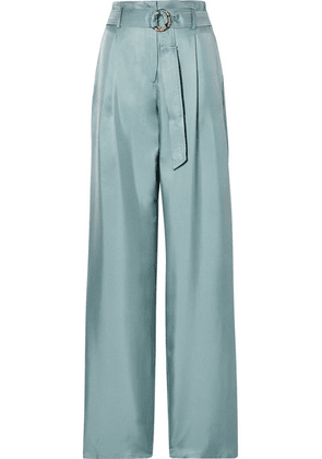 Sally LaPointe - Belted Silk-satin Twill Wide-leg Pants - Gray green