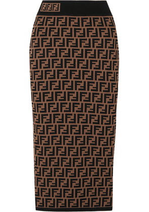 Fendi - Jacquard-knit Midi Skirt - Brown