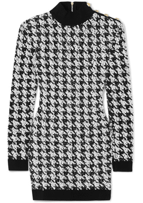 Balmain - Button-embellished Houndstooth Bouclé-tweed Mini Dress - Black