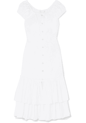Caroline Constas - Lyla Tiered Cotton-blend Midi Dress - White