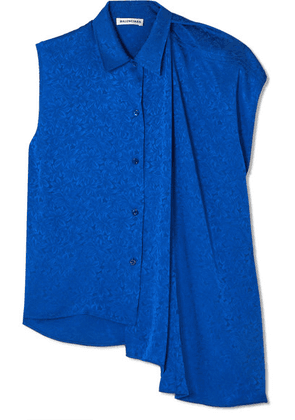 Balenciaga - Draped Asymmetric Floral-jacquard Blouse - Royal blue