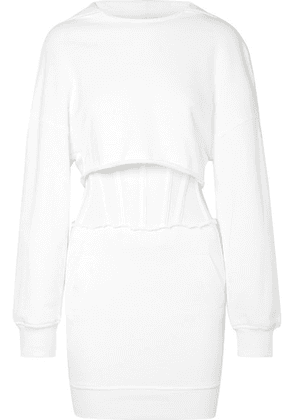 RtA - Bailey Layered Cotton-jersey And Mesh Mini Dress - White